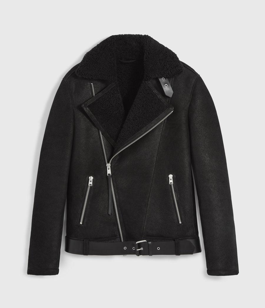 Men's Byward Shearling Biker Jacket (black) - Image 10