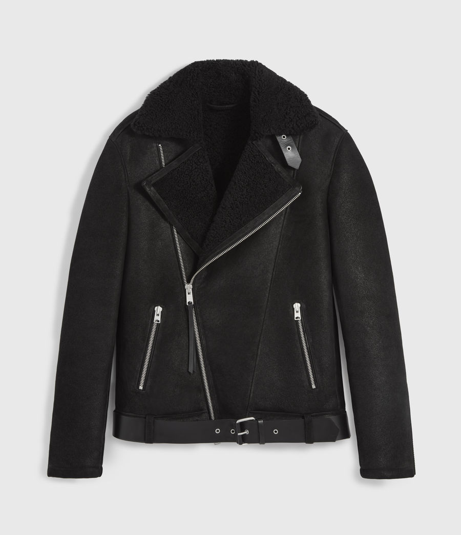 Mens Byward Shearling Biker Jacket (black) - Image 10