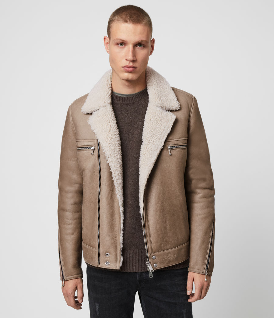 Mens Coleman Shearling Biker Jacket (pebble_natural) - Image 1