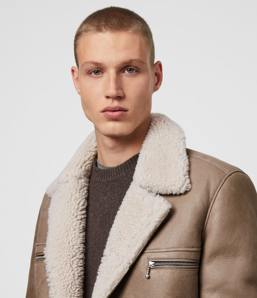 Mens Coleman Shearling Biker Jacket (pebble_natural) - Image 2