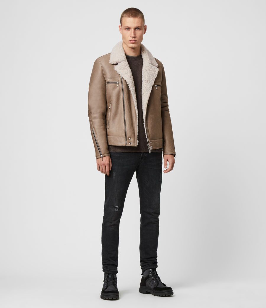 Mens Coleman Shearling Biker Jacket (pebble_natural) - Image 3