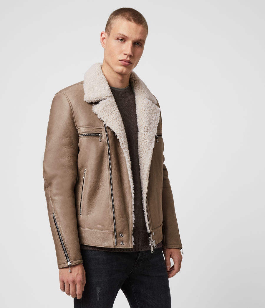Mens Coleman Shearling Biker Jacket (pebble_natural) - Image 4
