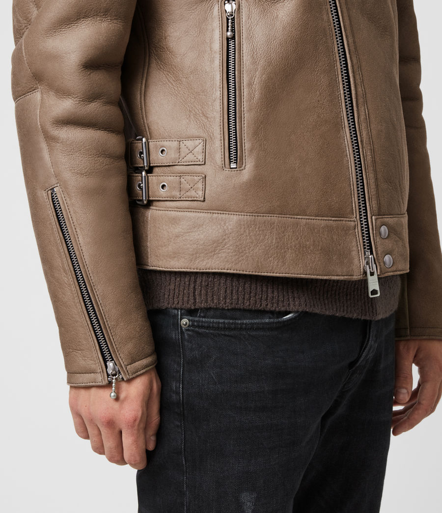 Men's Coleman Shearling Biker Jacket (pebble_natural) - Image 5
