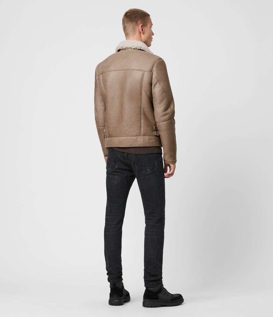 Men's Coleman Shearling Biker Jacket (pebble_natural) - Image 6