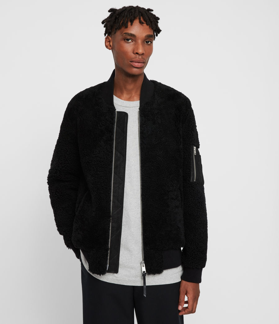 Men's Dale Shearling Bomber Jacket (black_black) - Image 4