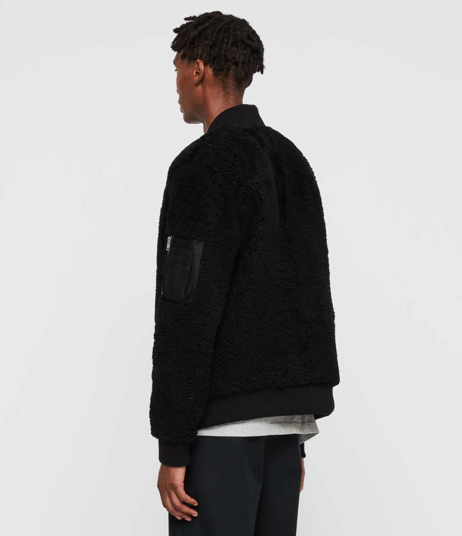 Men's Dale Shearling Bomber Jacket (black_black) - Image 5