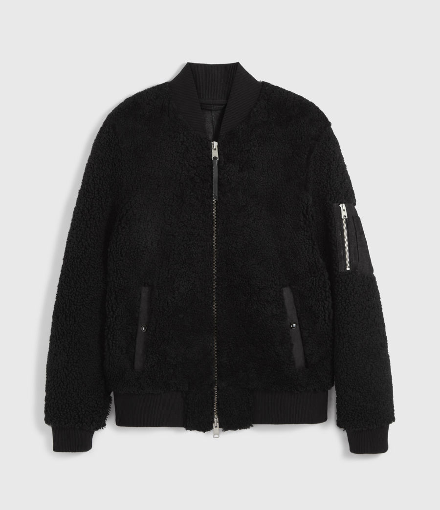 Men's Dale Shearling Bomber Jacket (black_black) - Image 6