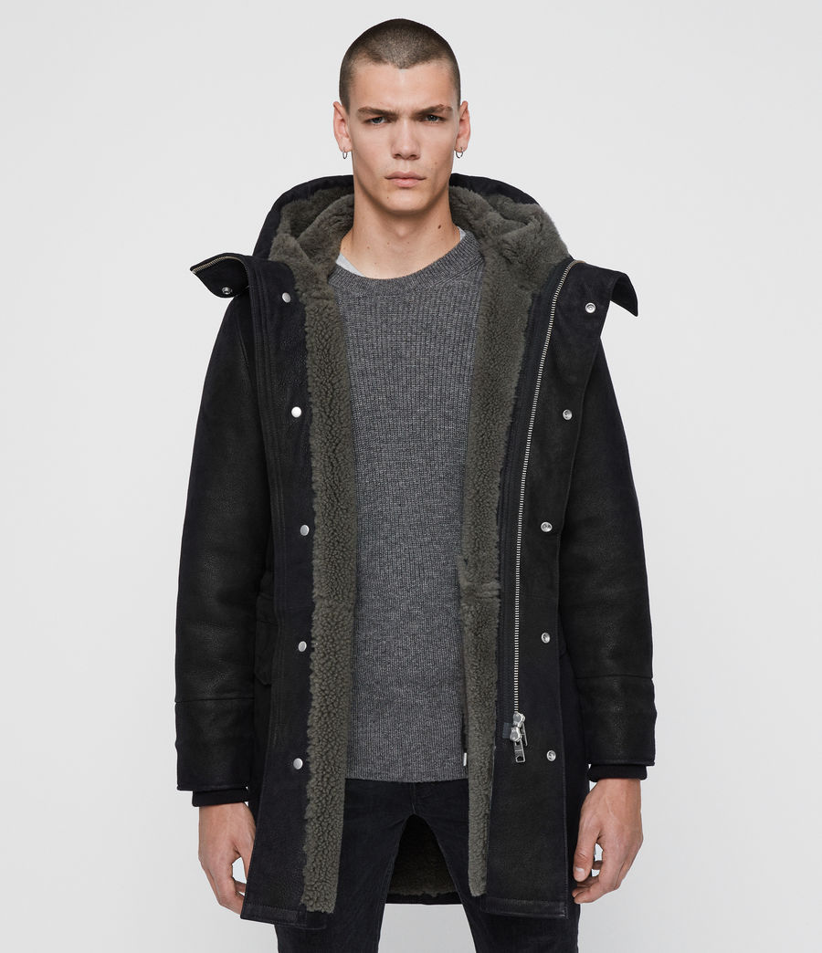 Men's Ramac Shearling Coat (black_slate_grey) - Image 1