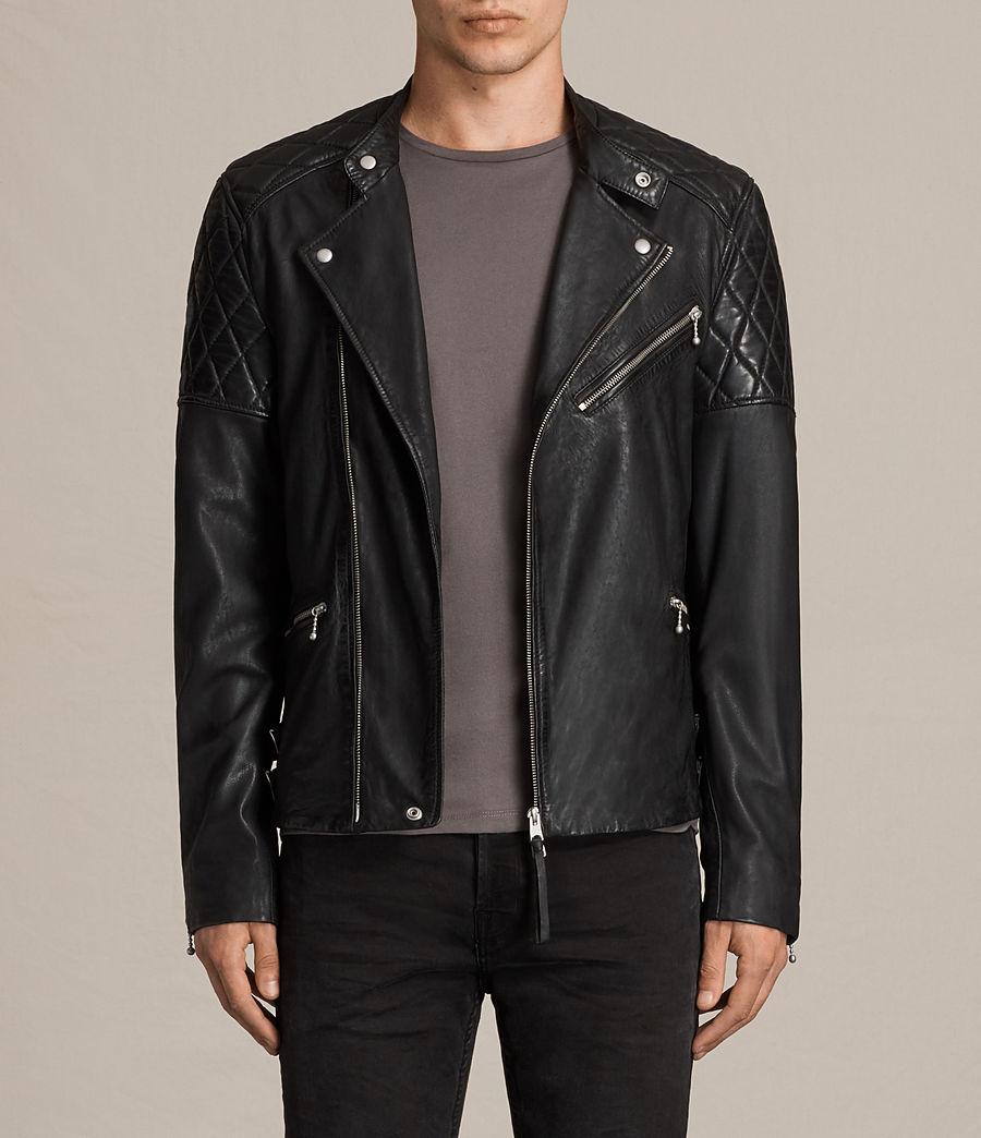Mens Den Leather Biker Jacket (ink_navy) - Image 1