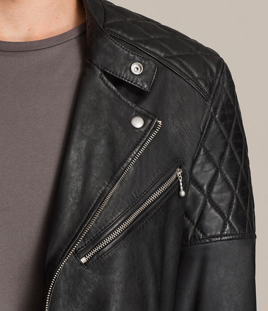 Mens Den Leather Biker Jacket (ink_navy) - Image 2