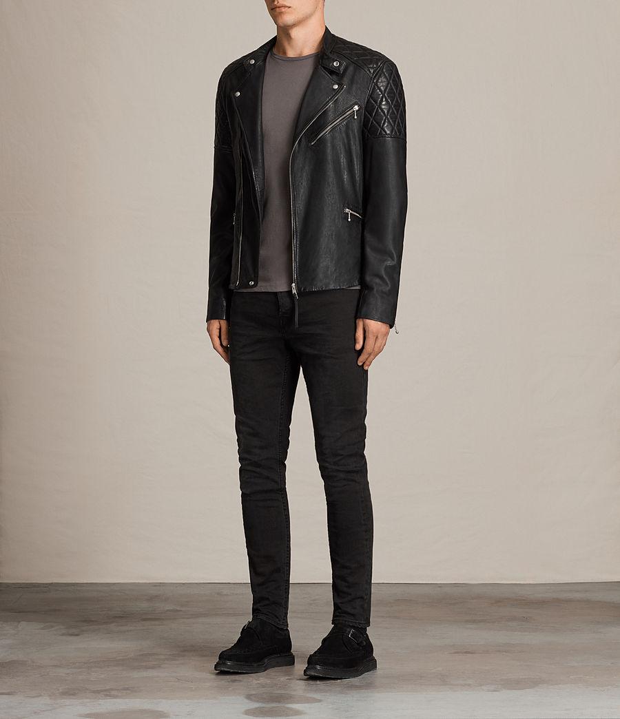 Mens Den Leather Biker Jacket (ink_navy) - Image 3