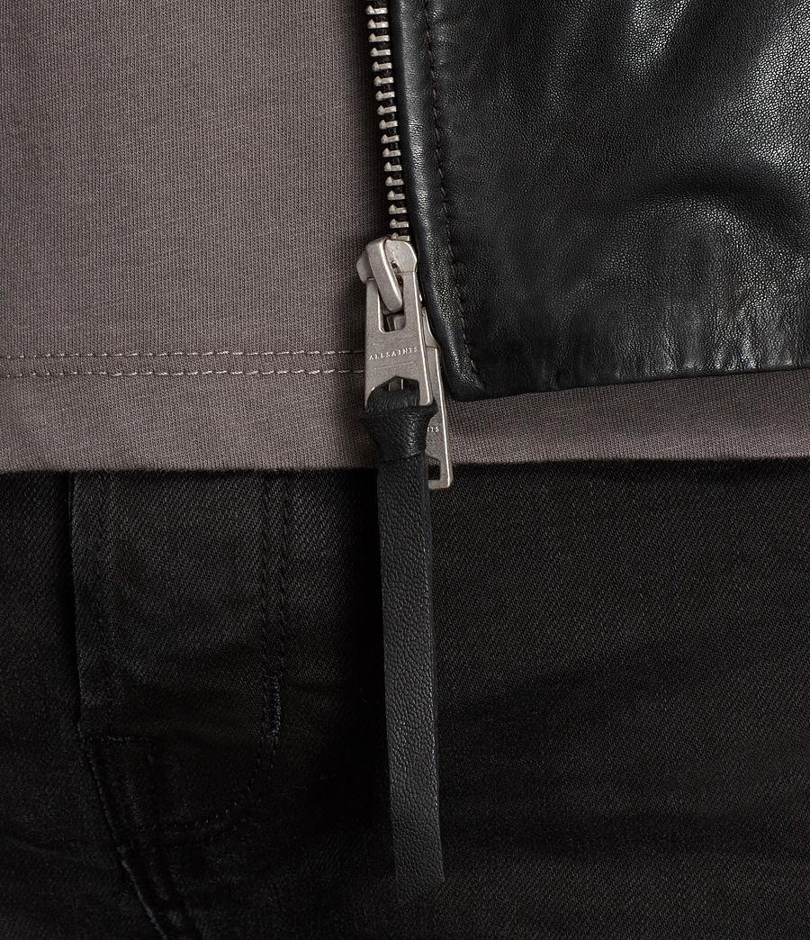 Mens Den Leather Biker Jacket (ink_navy) - Image 4