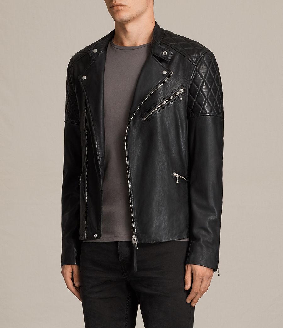 Mens Den Leather Biker Jacket (ink_navy) - Image 5