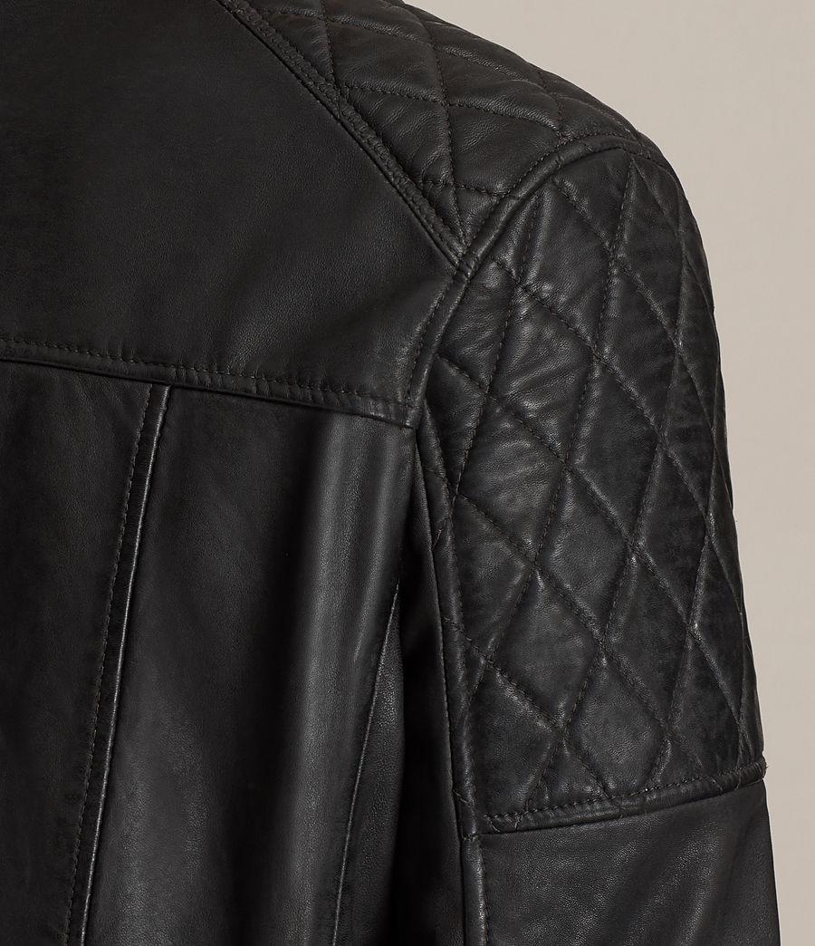 Mens Den Leather Biker Jacket (ink_navy) - Image 6