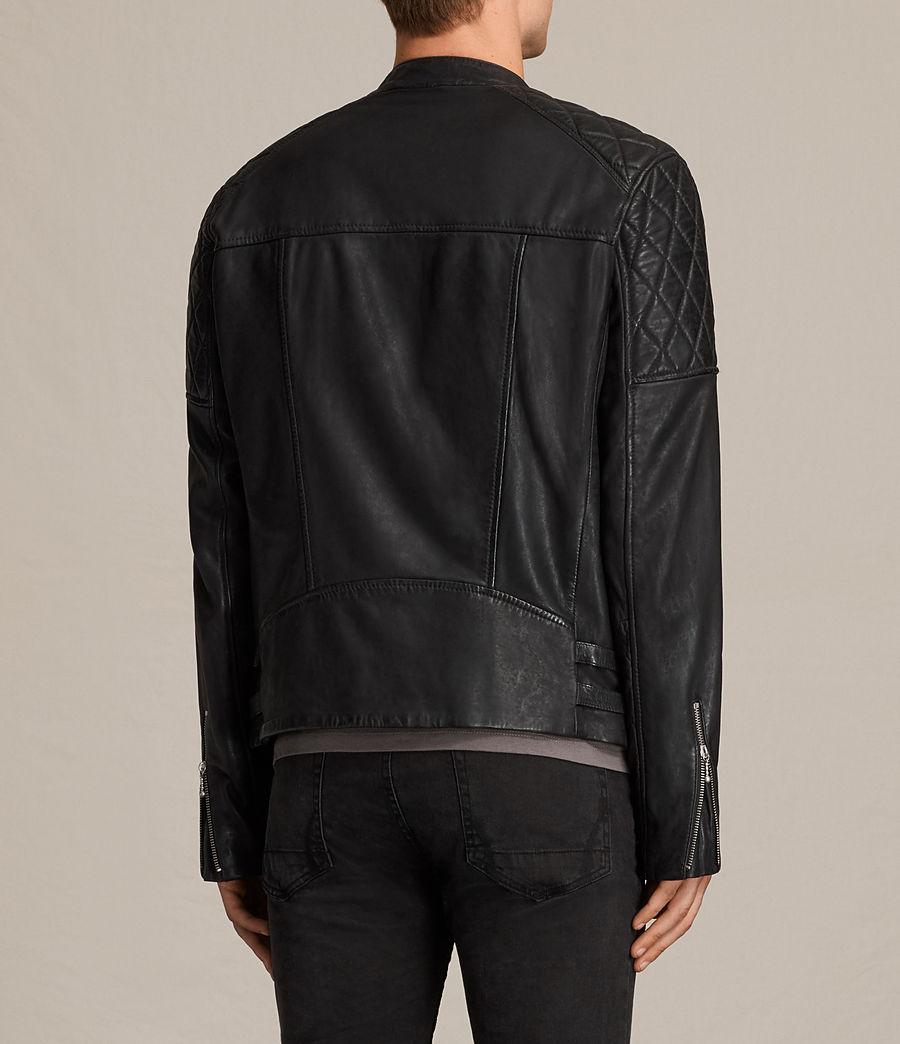 Mens Den Leather Biker Jacket (ink_navy) - Image 8
