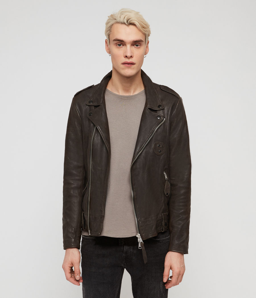 Men's Vixon Leather Biker Jacket (slate_grey) - Image 1