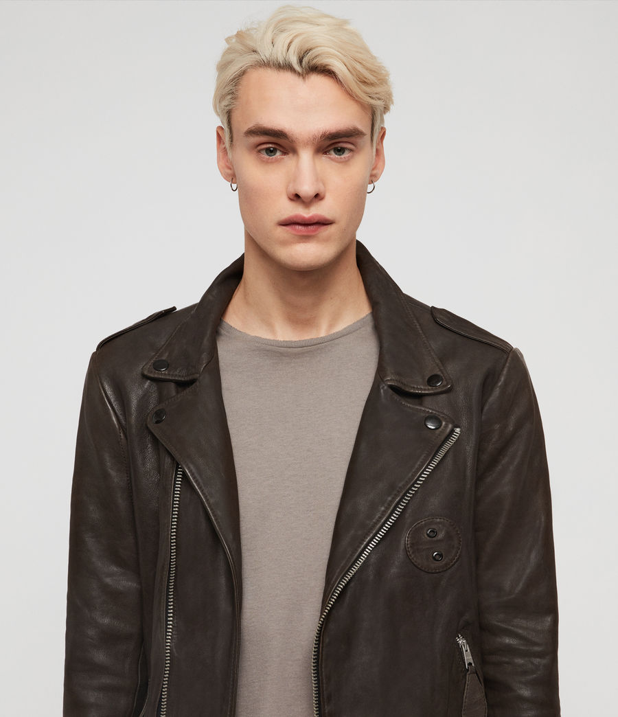 Men's Vixon Leather Biker Jacket (slate_grey) - Image 2
