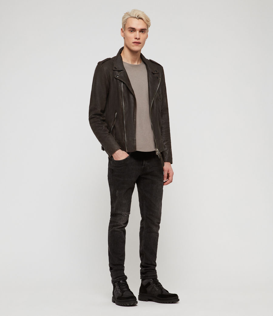 Men's Vixon Leather Biker Jacket (slate_grey) - Image 3