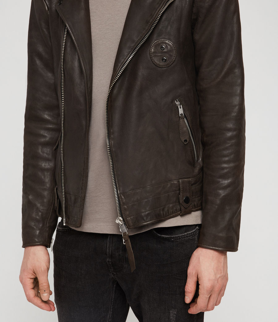 Men's Vixon Leather Biker Jacket (slate_grey) - Image 4