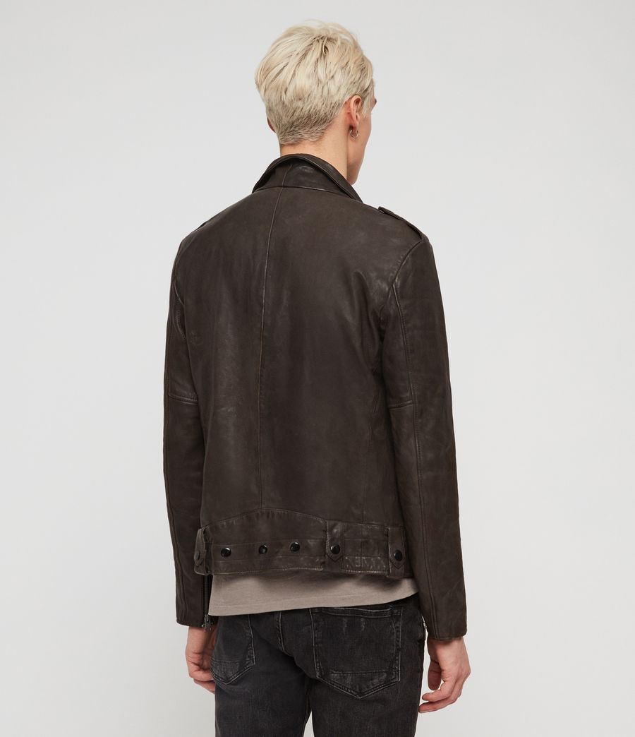 Men's Vixon Leather Biker Jacket (slate_grey) - Image 5