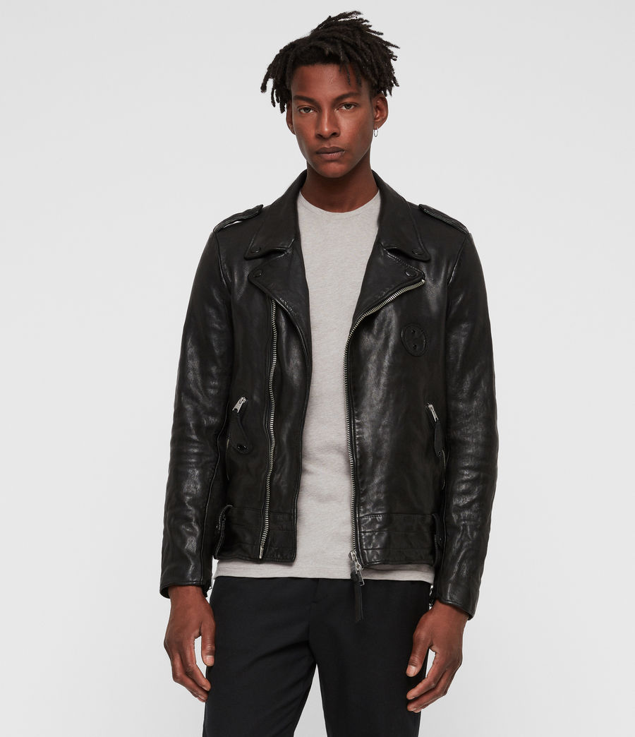 Men's Vixon Leather Biker Jacket (black) - Image 1