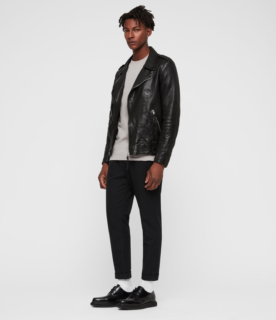 Men's Vixon Leather Biker Jacket (black) - Image 3