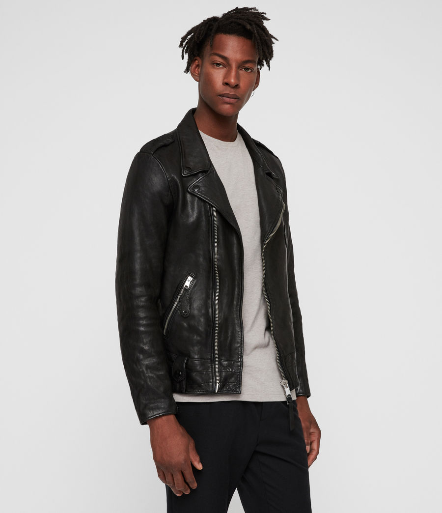 Men's Vixon Leather Biker Jacket (black) - Image 4