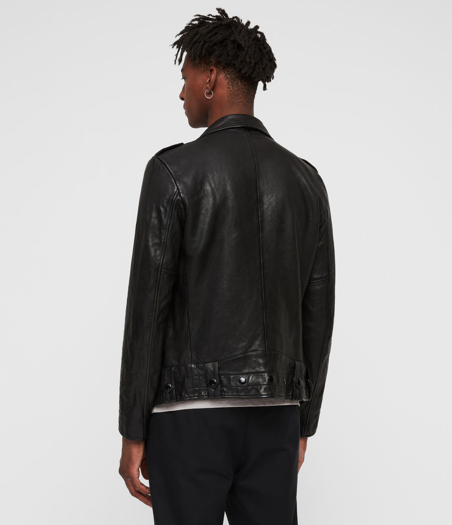 Men's Vixon Leather Biker Jacket (black) - Image 5