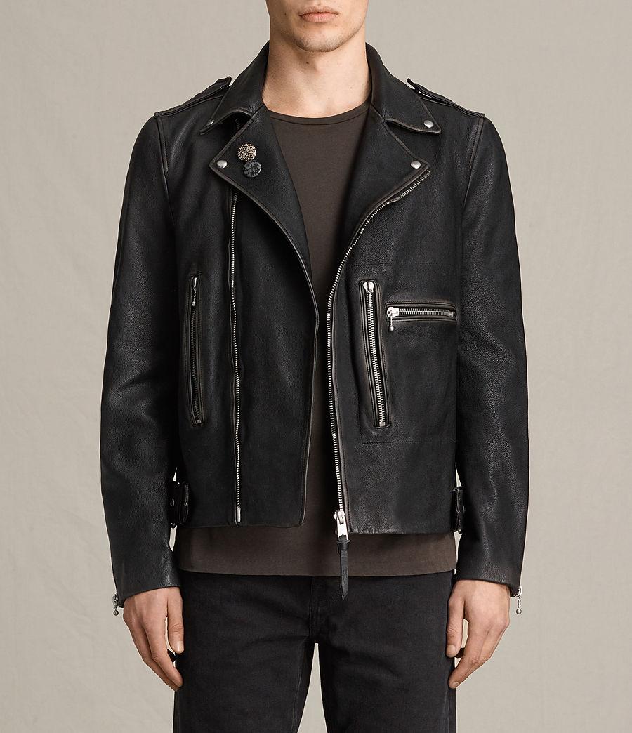 Mens Wykham Leather Biker Jacket (black) - Image 1