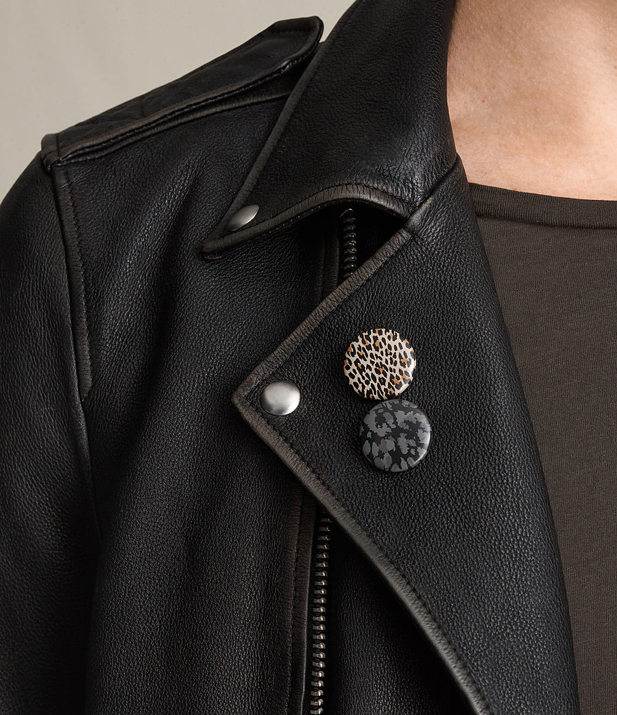 Mens Wykham Leather Biker Jacket (black) - Image 2