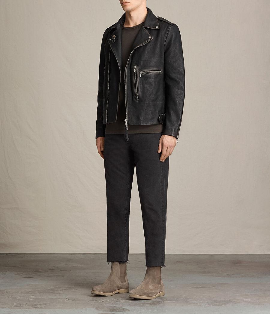 Mens Wykham Leather Biker Jacket (black) - Image 3