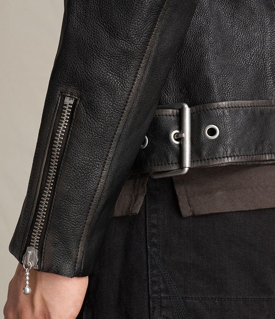 Mens Wykham Leather Biker Jacket (black) - Image 4