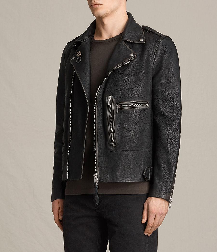 Mens Wykham Leather Biker Jacket (black) - Image 5