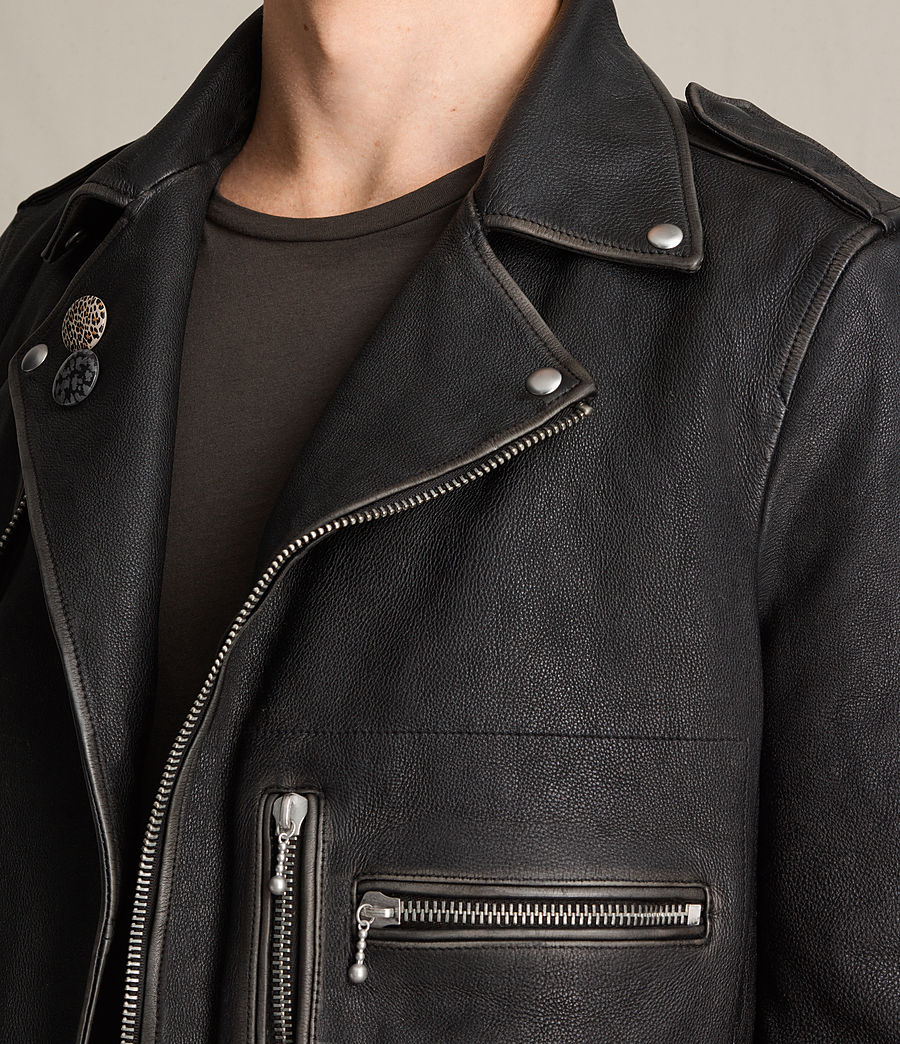 Mens Wykham Leather Biker Jacket (black) - Image 6