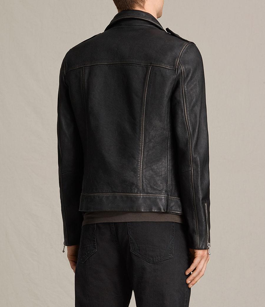 Mens Wykham Leather Biker Jacket (black) - Image 8