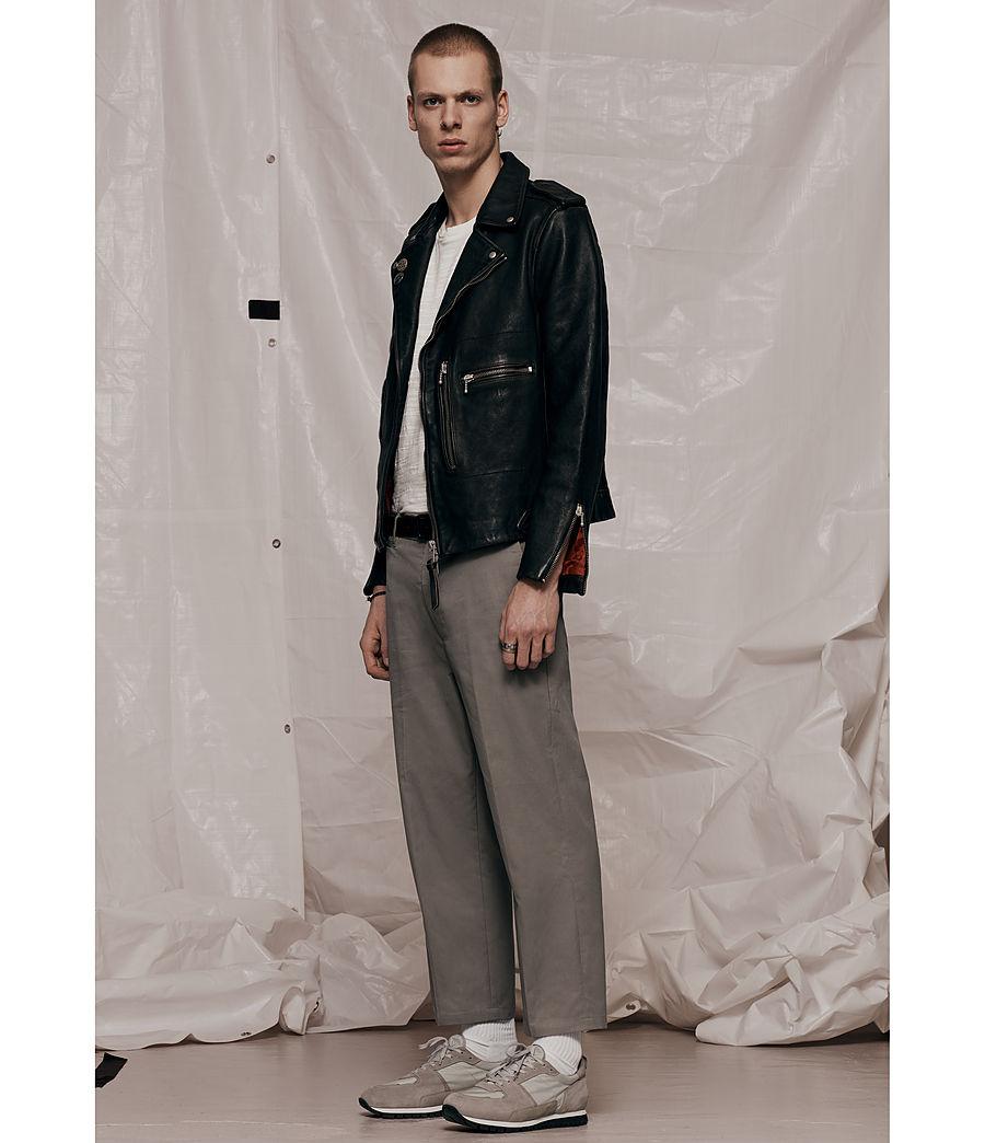 Mens Wykham Leather Biker Jacket (black) - Image 9