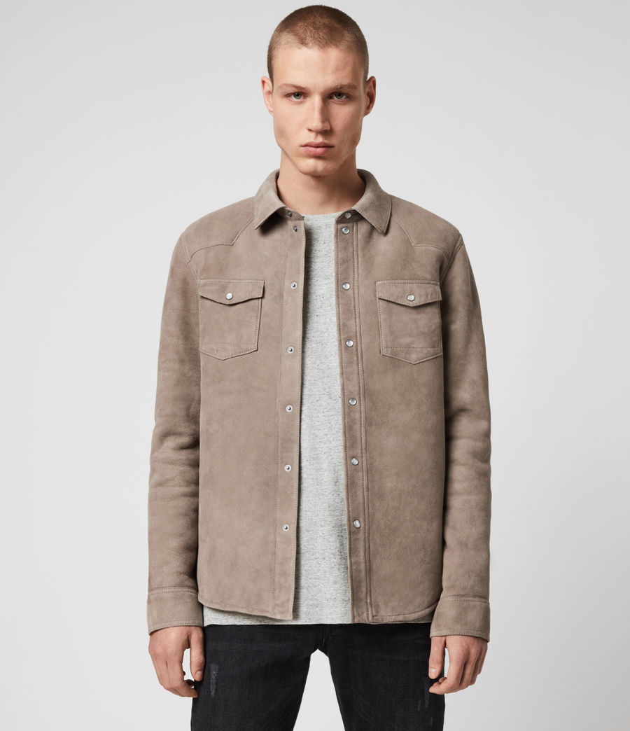 Mens Walbrook Shearling Shirt (pebble) - Image 1