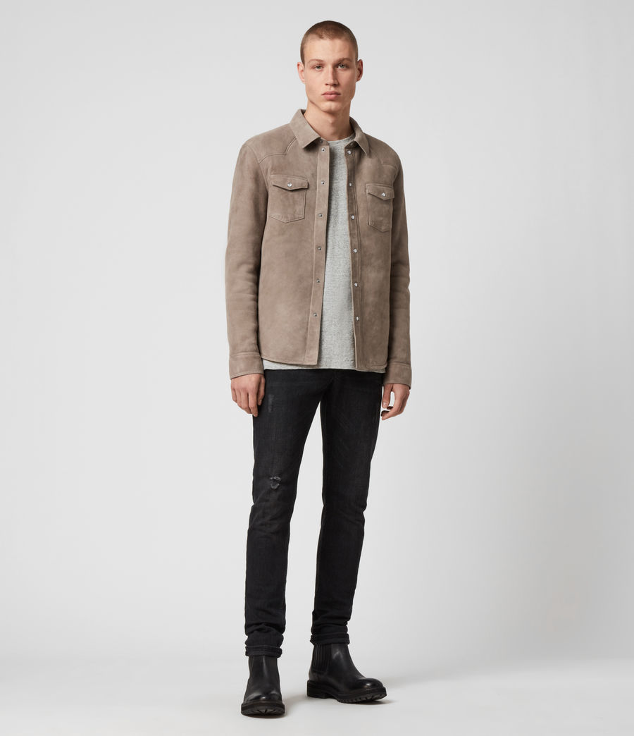 Mens Walbrook Shearling Shirt (pebble) - Image 3