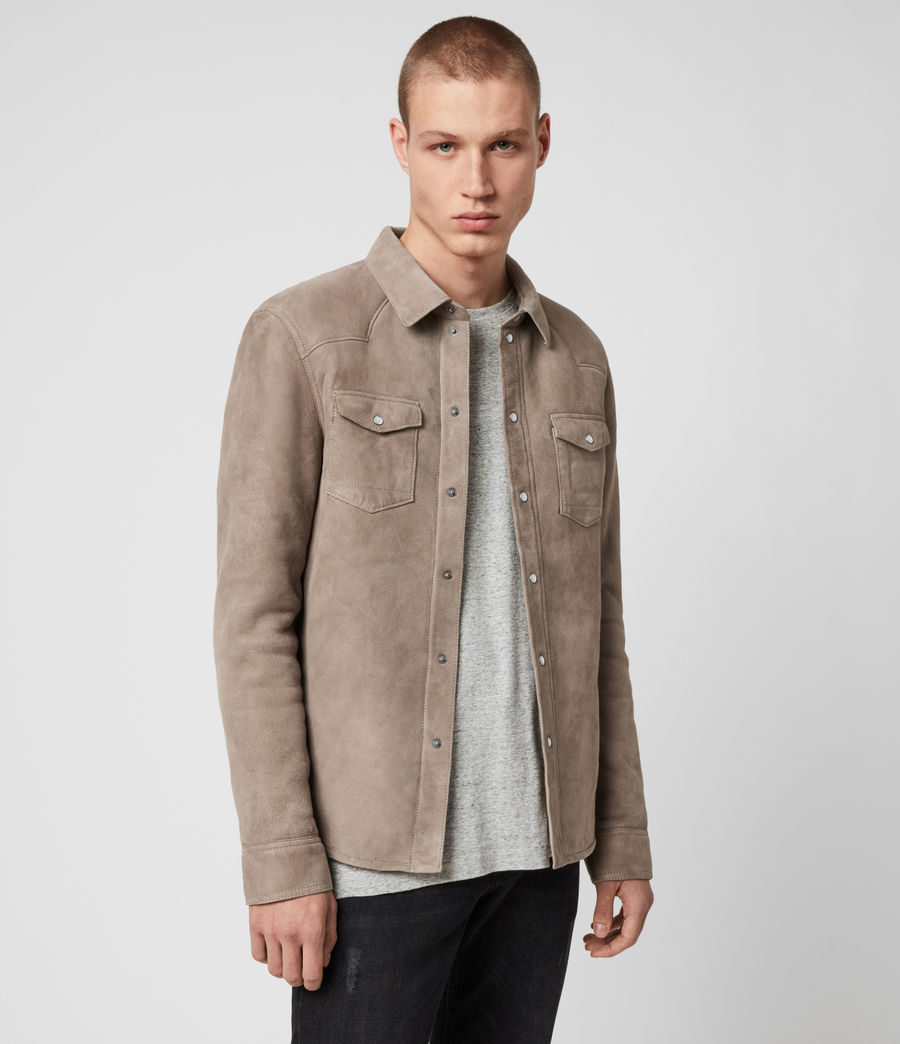 Mens Walbrook Shearling Shirt (pebble) - Image 4