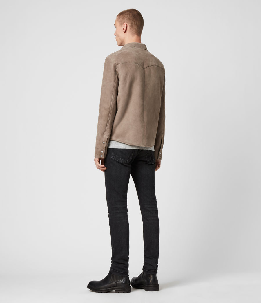 Mens Walbrook Shearling Shirt (pebble) - Image 5