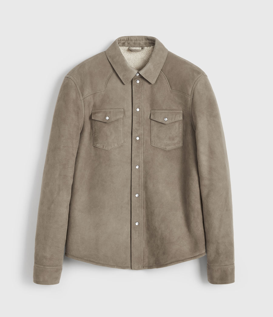Mens Walbrook Shearling Shirt (pebble) - Image 6