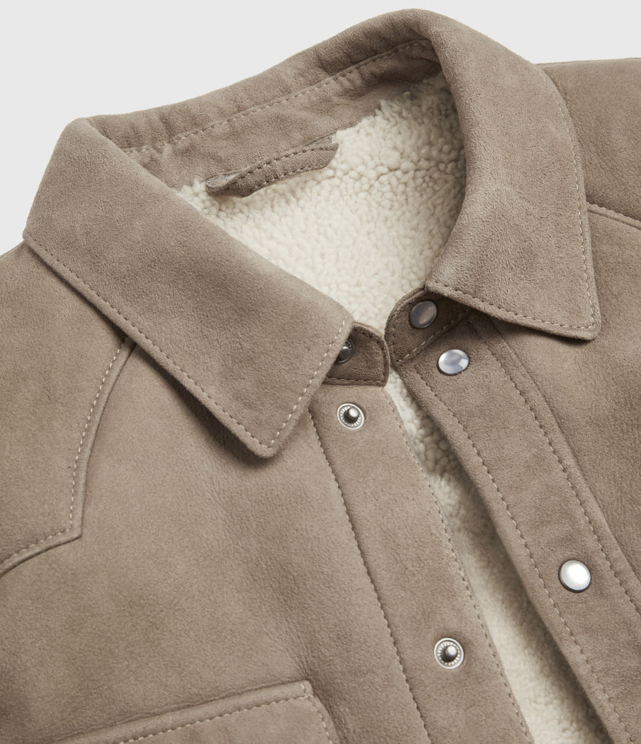 Mens Walbrook Shearling Shirt (pebble) - Image 7