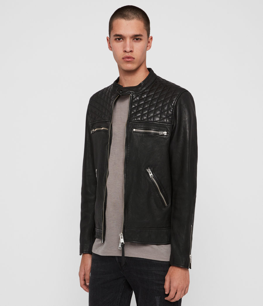 Men's Amersham Leather Jacket (black) - Image 4