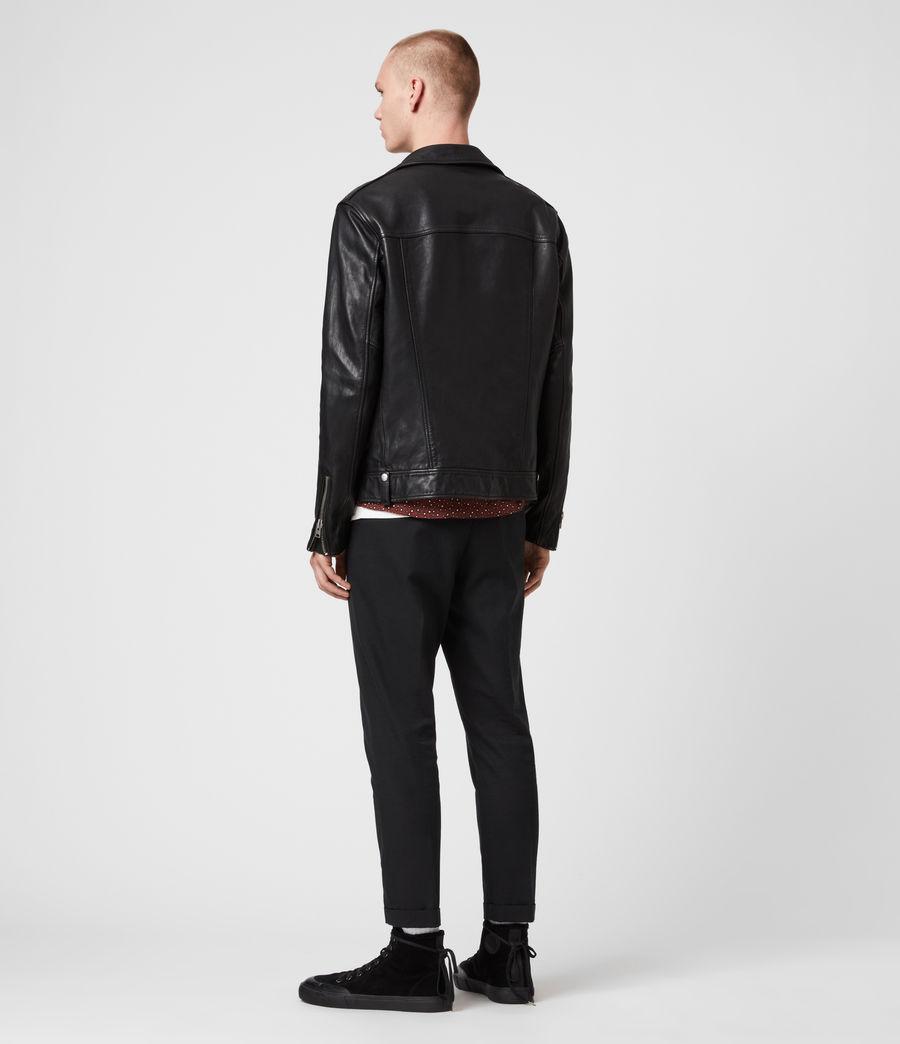 Mens Hedworth Leather Biker Jacket (black) - Image 6