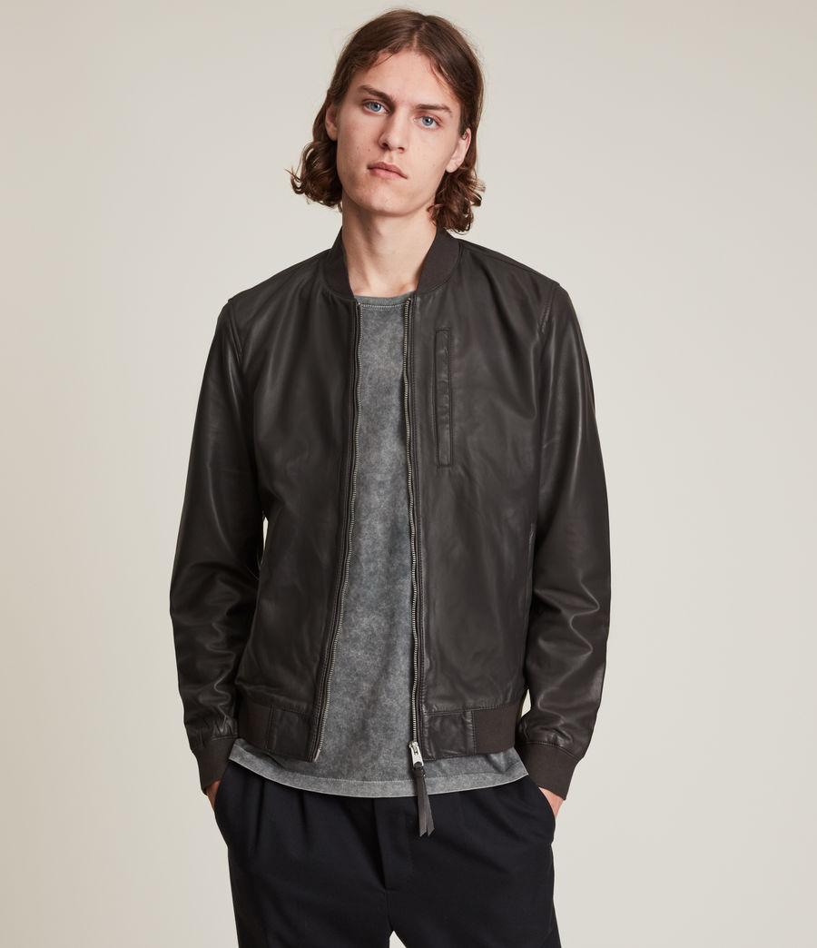 Hommes Bales Leather Bomber Jacket (slate_grey) - Image 1