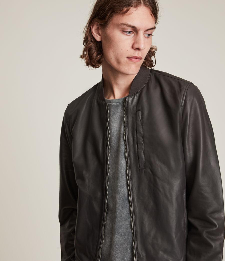 Hommes Bales Leather Bomber Jacket (slate_grey) - Image 2