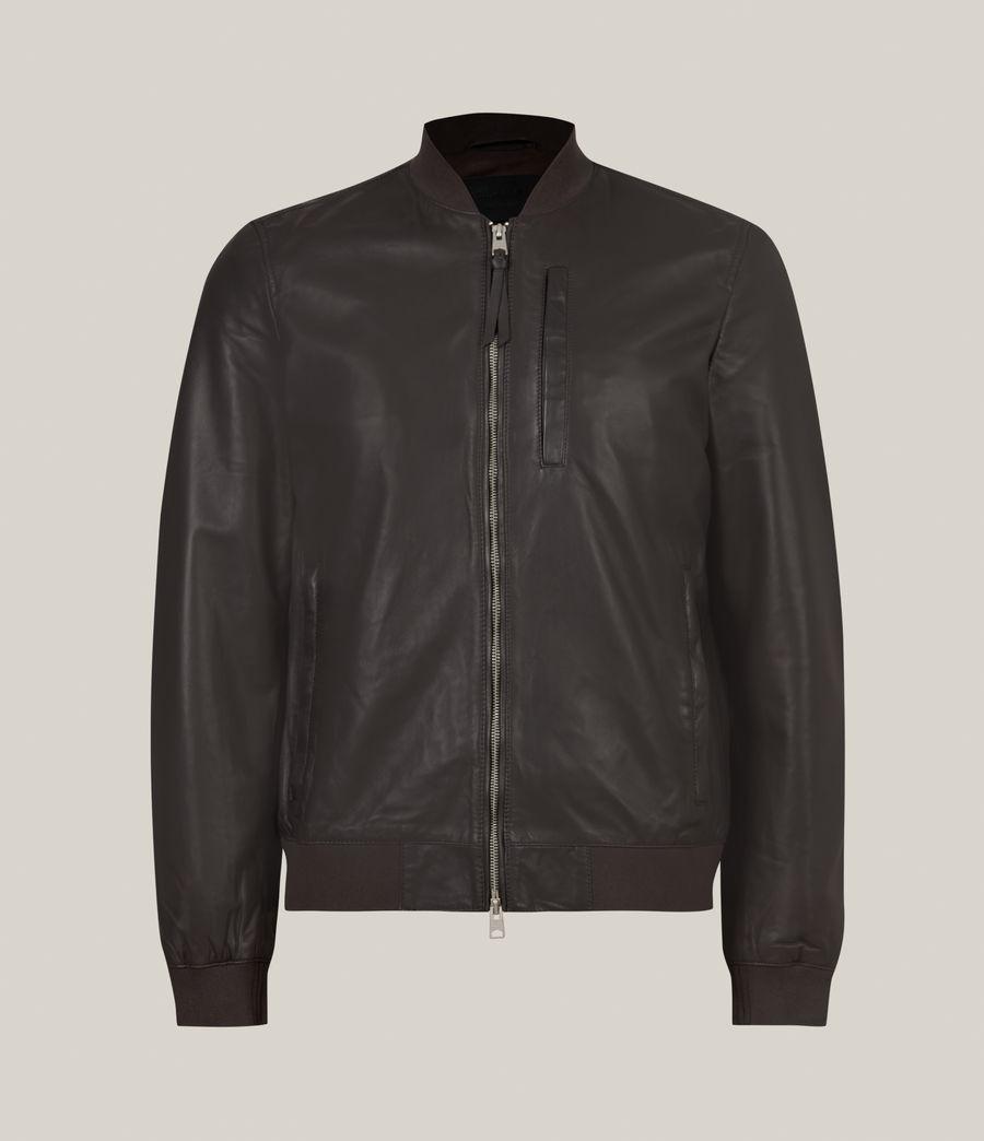 Hommes Bales Leather Bomber Jacket (slate_grey) - Image 3