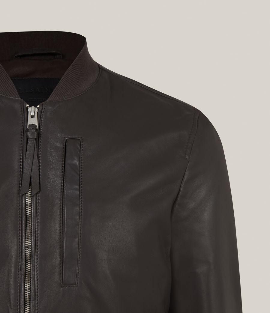 Hommes Bales Leather Bomber Jacket (slate_grey) - Image 5