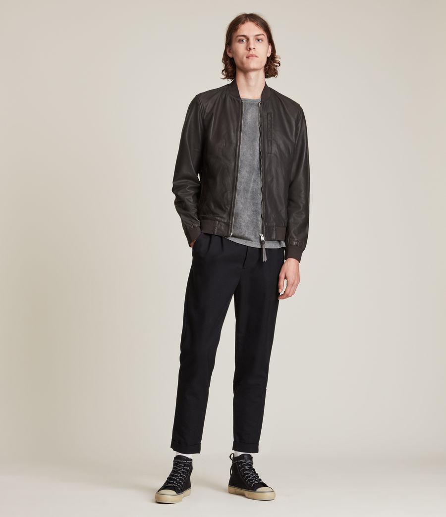 Hommes Bales Leather Bomber Jacket (slate_grey) - Image 6