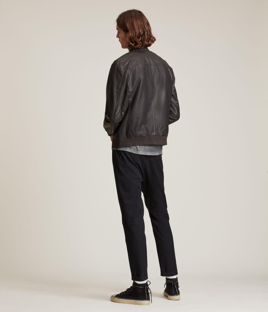 Hommes Bales Leather Bomber Jacket (slate_grey) - Image 7